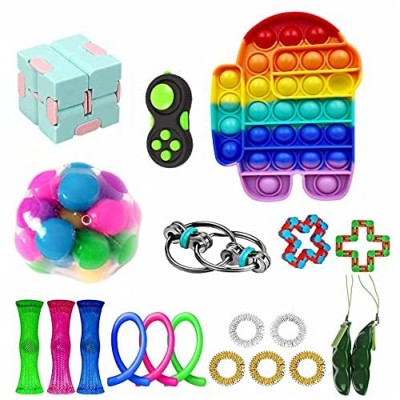 Stress Relief Fidget Toy Pack  Sensory Fidget Toys Pack with Push Pop Bubble Simple Dimple Decompression Fidget Toys Set with Infinite Cube Fidget Toy Gifts That Easy to Carry for Kids