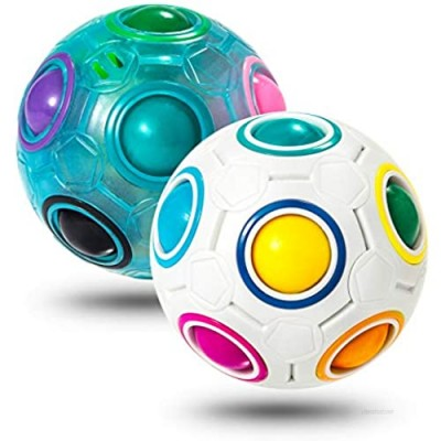 Vdealen Magic Rainbow Puzzle Ball  Speed Cube Ball Puzzle Game Fun Stress Reliever Magic Ball Brain Teaser Fidget Toys for Children Teens & Adults 2 Pack