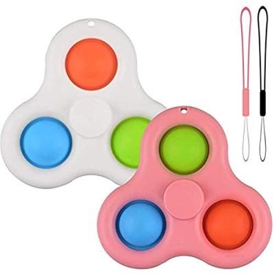 2Pcs Rotatable Push pop Bubble Fidget Sensory Toys  Mini Keychain Toy  Simple Dimple Fidget Pack  Unique Executive Stress Relief Gift for Adults & Kids (White & Pink)