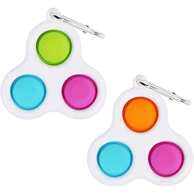 2pcs Simple Dimple Sensory Fidget Toy  Mini Keychain Early Education Brain Teaser Popping Fidget Toys Stress Relief Hand Toys for Kids Adults ( Multiple Colour  with Keychain)
