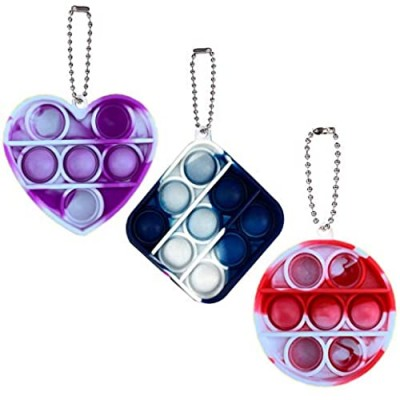 3 Pack Mini Pop Its Bubble Fidget Toys Small Simple Sensory Dimple Fidget Toy Keychain Popper Anxiety Stress Reliever Decompression Toy for Kids Adults