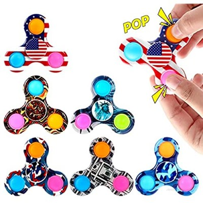 GOHEYI 6PCS Pop Fidget Spinner Toy  Ppo Spinner Toy Reducing Boredom  ADHD  Anxiety  Push Ppo Bubble Simple Dimple Spinner Toy  Fidget Spinners Toys Set for Kids