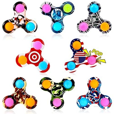 GOHEYI 8 Pack Pop Fidget Spinner Pop Fidget Spinners Pack Toy Push Pop Bubble Simple Dimple Hand Spinner for Kids Adults Handheld Popping Sensory Stress Relief Toys