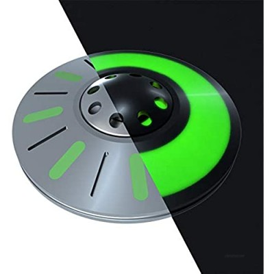 LION CITY UFO Fidget Spinner  Glow in The Dark Spaceship Spinner with Green Luminosity  Fully Metallic Toy with Replaceable Bearing  Comes with Mini Flashlight and Carrying Case (Pearl Silver)
