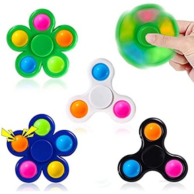 Moon Wood Fidget Spinner Popop 4 Pack- Spinner Fidget Toys  Fidget Spinners for Kids Adults  Fidget Toy for Stress Relieve- Pop-Bubble Sensory Toys