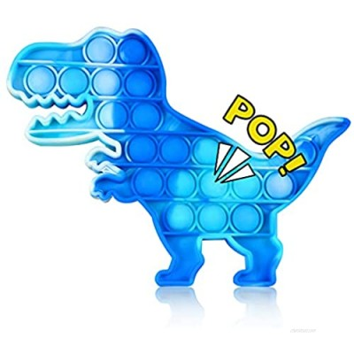 NUFR Push Pop Pop Bubble Sensory   Tie-dye Dinosaur Soft Silicone Anxiety and Stress Relief Toys Logic Popping Game Board for Kids and Adults (Blue)