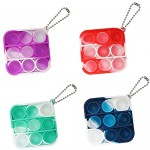 SEBL Group 5 Pcs Mini Push pop Bubble Fidget Sensory Toys Simple Dimple Fidget Toy Stress Relief Hand Toys Keychain Toy for Adults and KidsStress Relief Gifts for Boys and Girls (Color 1)