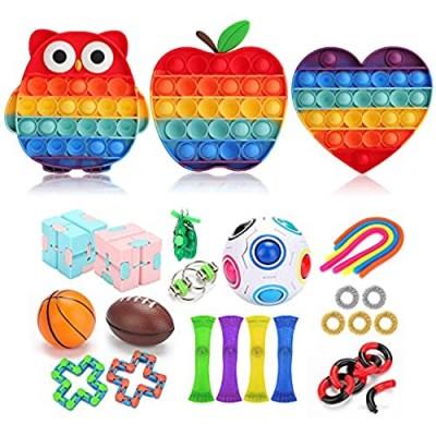 VOKITA Fidget Toys Set  27 Pcs Sensory Fidget Toys Sets  Fidget Set Toys Push pop Sensory Toy Leisure Fun Tools for Girls Boys Kids Adults Fidget Pack Cheap for Kids