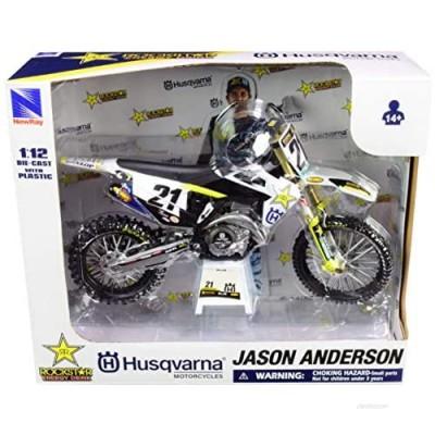 New-Ray FC450#16 Jason Anderson Rockstar Energy Drink 1/12 Diecast Motorcycle Model 58233  Blue
