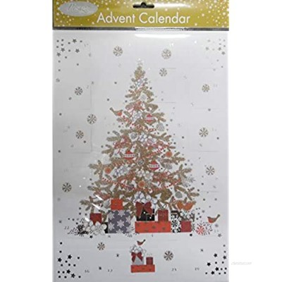 Pizazz Christmas Tree Gold Red Advent Calendar 24 x 35 cm Glitter varnish and foil with envelope Glick Advent Calendar