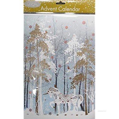 Pizazz Unicorn in the Forest Advent Calendar 24 x 35 cm Glitter varnish and foil with envelope Glick Advent Calendar
