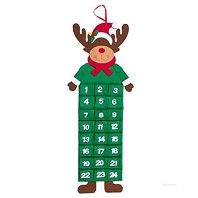 Robelli Large Rudolf Reindeer Festive Felt Christmas Advent Calendar with Pockets