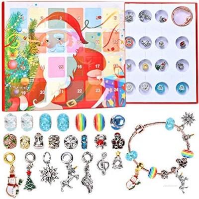 RTXUK Christmas Advent Calendar 2020 Jewellery Advent Calendars - Nice Gifts for Girls  DIY Fashion Jewelry Set with 22 Charms Beads 2 Chain bracelet Set Present  For 8-12 Year Old Girl