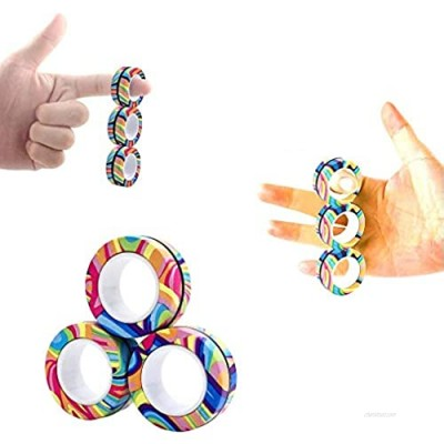 AHEYE 3 Pcs Finger Magnetic Ring - Anxiety and Stress Relief Toy Finger Toy  Magnetic Ring Durable Unzip Toys Finger Exerciser for Anxiety Fidget Rings Autism ADHD Ring Toys (Watermark Rainbow)