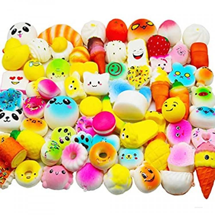 Huastyle 20pcs Squishies Toys Random Jumbo Medium Mini Slow Rising Kawaii Squishy Cake/Panda/Bread/Buns Phone Straps for Kids Stocking Stuffers Treasure Box Prizes Classroom