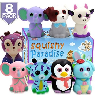POKONBOY Jumbo Squishies Slow Rising  8 Pack Animal Squishy Toys Cream Scented Squishies Pack Stress Relief Super Soft Squeeze Kawaii Cute Squishy Slow Rising for Kids