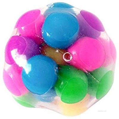 Squeeze Ball Toy  Squishy Stress Balls with Colorful Beads  Sensory Fidget Toy Relieve Stress Anxiety Hand Exercise Tool for Kids Adults (Smooth)
