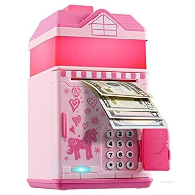 Piggy Bank for Girls  Electronic Money Coin Code Bank with LED Night Light and 10 Music  Pink Safe Box with Personal Password Setting  Auto Money Scroll  for Kids` Birthday