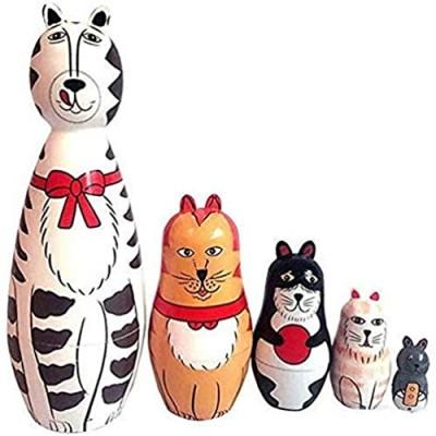 5-Nesting Cute Wooden Nesting Dolls Matryoshka Animal Russian Doll (Cat) Wooden Craft Craft Gift Customization