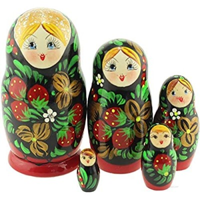 Azhna 5 pcs 10.5 cm Classic Khokhloma Style Nesting Doll Hand Painted Russian Doll Wooden Stacking Doll