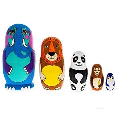 BestPysanky Set of 5 Zoo Animals Matryoshka Russian Wooden Nesting Dolls