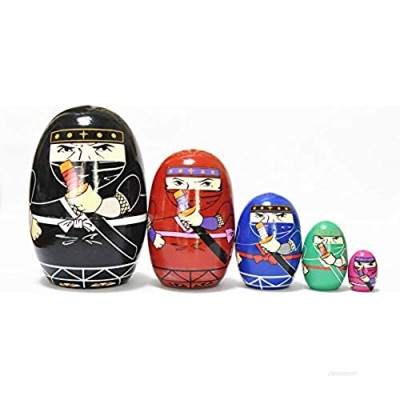 FinerMe Fine Work Russian Nesting Dolls Matryoshka Wood Stacking Nested Set 5 Pieces Handmade Toys for Children Kids Christmas Birthday Home Decoration (Color F..)