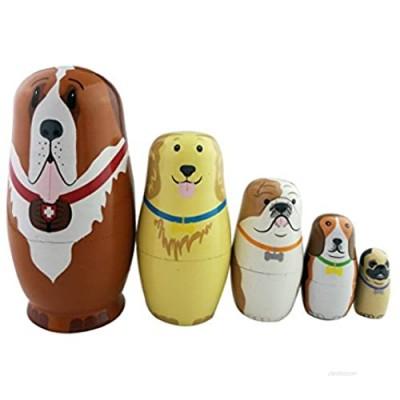 "Winterworm 5pc Nesting Doll Dog- Wooden Dog Hand Painted Nesting Dolls Matryoshka - Set of 5 Dolls from 5.7"" Tall"