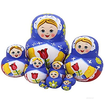 Winterworm Set 10 Pieces Lovely Blue Scarf Girl Hand with Rose Wooden Nesting Dolls Handmade Matryoshka Russian Dolls for Kids Stacking Toy Christmas Birthday Gift Home Decor