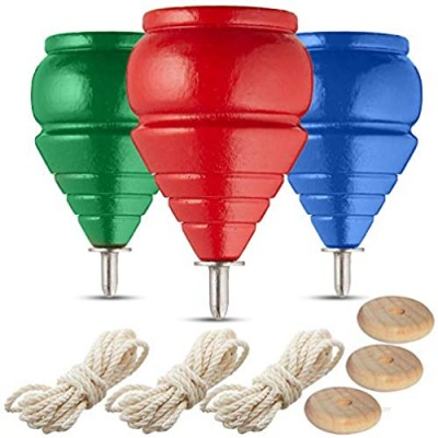 YAJUA Authentic Spinning Tops Classic Wooden Trompos [Set of 3]