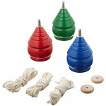 YAJUA Authentic Spinning Tops Classic Wooden Trompos with Jute Bag [Set of 3]