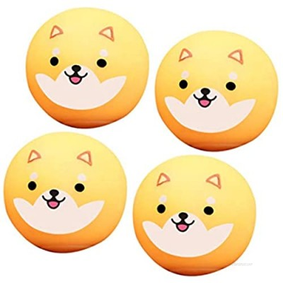 nicything Novel Cartoon Sticky Wall Balls  Lovely Fun Corgi Squeeze Ball Toys Set  Safe Soft Ceiling Balls Sticky Target Ball Toy Stress Relief Toys for Kids and Adults (4 Pieces)