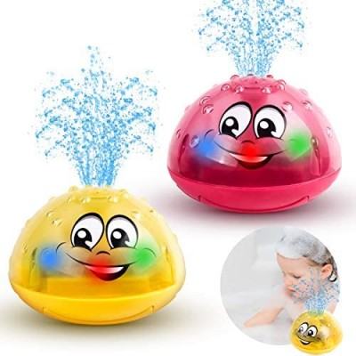 2 Pack Baby Bath Toys Light Up Bath Toy Electric Induction Water Spray Toy Bathtub Shower Bathroom Toy for Baby Kids