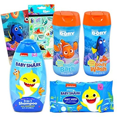 Baby Shark Bathroom Set for Kids Bundle ~ 4 Pc Baby Shark Shampoo and Wipes with Finding Dory Body Wash  Bath Bubbles  Stickers  and More! (Baby Shark Bath Set)
