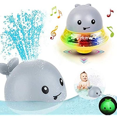 Bath Toys for 1 2 3 4 5 years old boys girls  2 in 1 Electric Induction Whale Water Spray Toy  Bath Fun Toys with Music and Flashing Lights Bathtime Play Ball Bath Toys for Toddlers Kids toys age 1-6