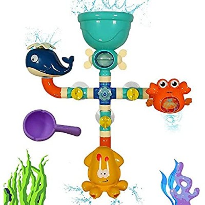 Bath Toys for Kids Ages 3 4 5 Toddlers Boys Girls  Infrant Bathtub Toys Waterfall Fill Spin and Flow  Interactive Water Bath Pipes Toy Set With Strong Suction Cups  Children's Birthday Gift Idea