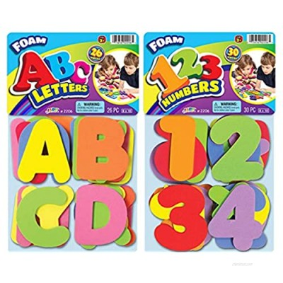 Foam Letters and Numbers Great Bath Toys Tiles (Pack of 2 Sets) by JA-RU | 3 Alphabet & 3 Numbers. Educational Game and Bath Toys for Toddlers | Item #3x3=2206-2p