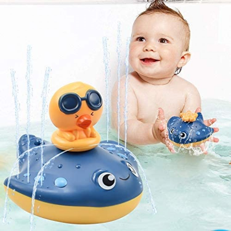 LECHONG Baby Bath Toys Water Spray Bath Toys for Toddlers Manta Ray Bathtub Water Toys with 3 Different Spray Accessories Toddle Bath Pool Toys Gift for Kids (Blue)