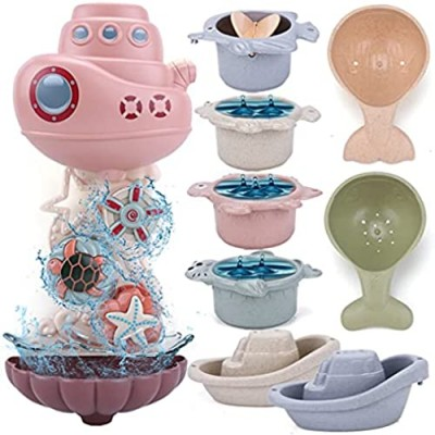 LZZAPJ Baby Bath Toys for Toddlers 1-3 Year Old  Kids Bathtub Water Toys with Baby Bath Stacking Cup and Boat  Gift for Boys Girls 6-12 Months