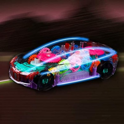 New Concept Transparent Mechanical Gear Toy Musical Car Early Educational Learning Race Cars Baby Car Toy with Automatic Steering Universal Driving Color Lights Flashing Electric Toddler Car