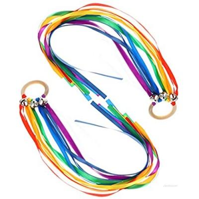 TOYANDONA 2pcs Ribbon Hand Kite Rainbow Hand Kites with Bells Colorful Dancing Ring Sensory Ribbon Sensory Toys Rings Learning Montessori Waldorf Toys for Kids Toddlers Learning