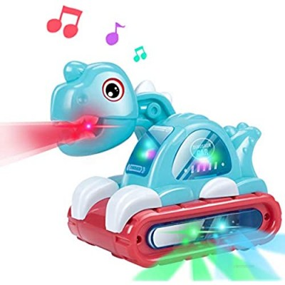 UNIH Baby Toys for 1 Year Old Boy Girl  Musical Dinosaur Car Crawling Developmental Toys with Sounds and Lights Infant Toys for 6 to 12-18 Months