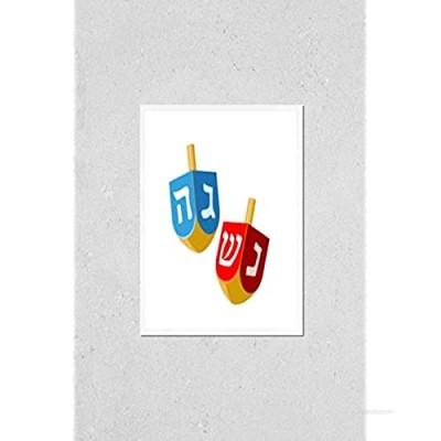 KwikMedia Poster Reproduction of Hanukkah Dreidel. Illustration of Wooden Dreidels (sevivon  Spinning top)