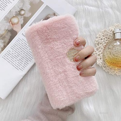 Smagiv Plush Wallet Case for Samsung Galaxy A11 Women Girl Cute Fluffy Crystal Glitter Magnetic Flip Furry Shockproof Soft Faux Fur Leather TPU Inner Cover for Galaxy A11 Pink