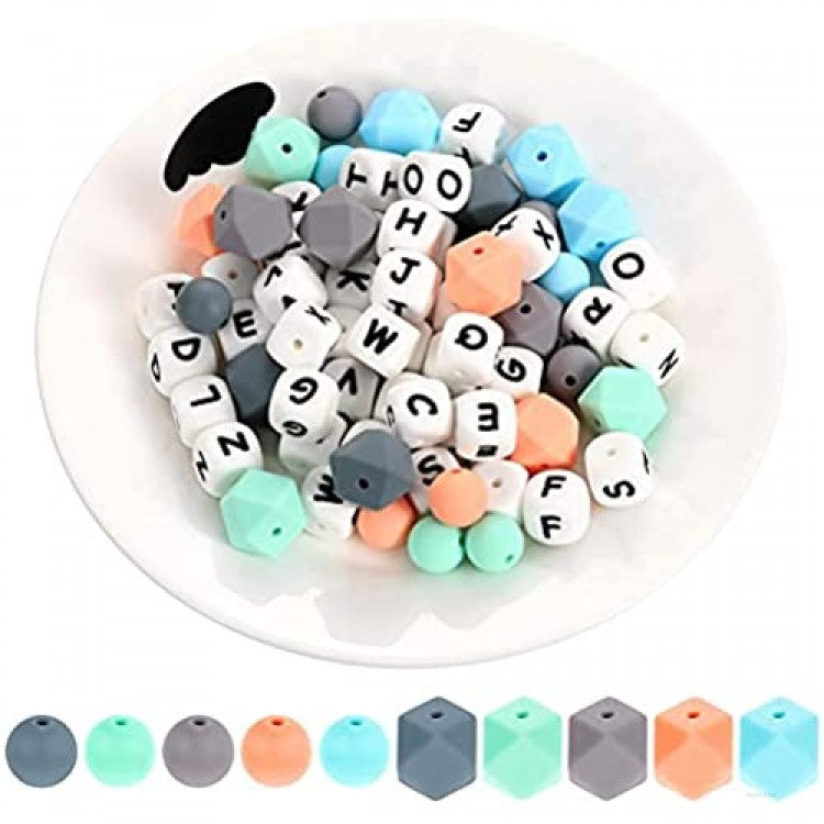 102 Pieces Silicone Teething Beads Set 52 Pieces Alphabet Beads 25 Pieces Hexagon 25 Pieces Round Silicone Bead for DIY Jewelry Necklace Bracelet Accessories Pacifier Chain DIY Baby Toy (Colorful)