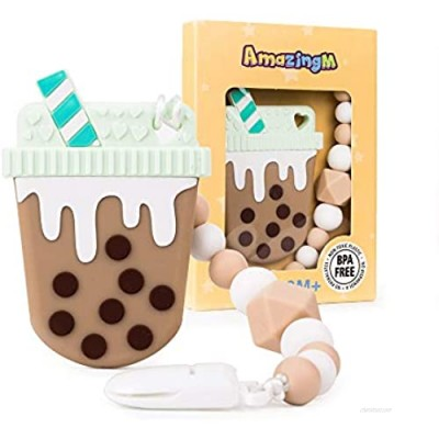 AmazingM Baby Teething Toys Food Grade Silicone Teether Toy with Pacifier Clip Holder BPA Free Freezer Safe  (Bubble Tea) (Coffee)