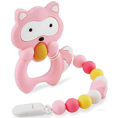 Baby Teething Toys for 3-6 6-12 Months Babies  Silicone Teethers with Relief Beads Binky Holder and Pacifier Clips  Raccoon Design for Boys and Girls (Pink)