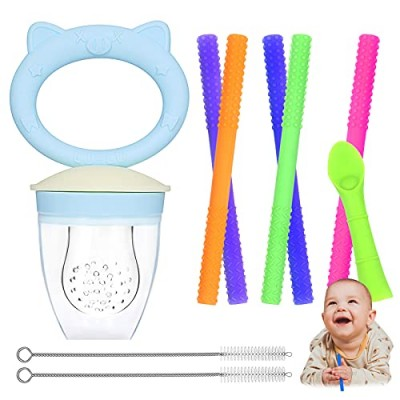 Hollow Teething Tubes with Teething Feeder  Moduskye 9 in 1 Teething Tubes Set Soft Silicone Teething Toys for Babies (6-18 Months) Included 5 Teething Tubes  Teething Spoon and 2 Cleaning Brushes