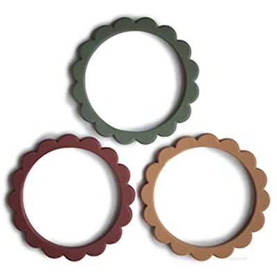 mushie Flower Teether Bracelet | 3-Pack (Dried Thyme/Berry/Natural)
