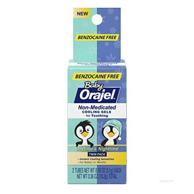 Orajel Non-Medicated Baby Teething Day & Night Cooling Gels 0.18 oz Twin Pack (Pack of 3)