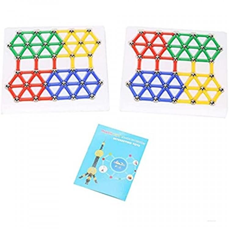 Xpork 206Pcs Plastic Building Blocks Magnetic Educational Toys Basic Children's Rainbow Building Blocks Magnet Stacking Set 3D Building Blocks Creative Education